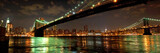 Panorama of Brooklyn and Manhattan Bridges at night