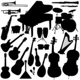 Fototapety 22 pieces of detailed vectoral musical instrument silhouettes.