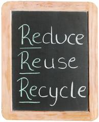 """""""Reduce, reuse, recycle"""" on blackboard"""