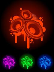 neon speaker symbol.