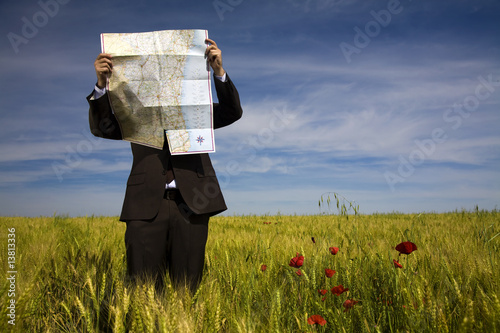 businessman lost in field using a map - 13813336