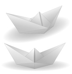 Two paper ships isolated on white
