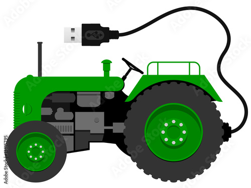 Small green tractor with with USB cable