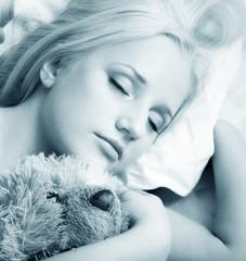 The girl sleeps