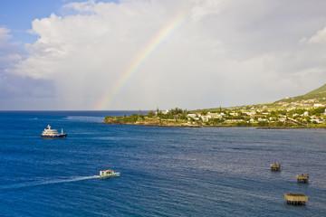 Ships Around Island with Rainbow