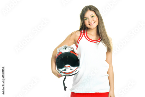 woman holding a motorcycle helmet