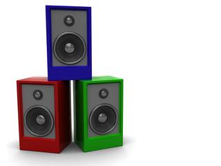colorful audio speakers