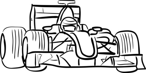 F1 car outlined