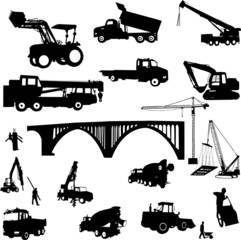 construction objects vector (crane - worker - building )