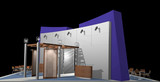 3D rendering of exhibition stand poster