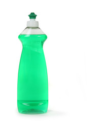 Green Dishwashing Liquid Soap in a Bottle Isolated