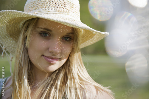 young girl with flares