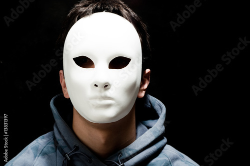 young man with white mask