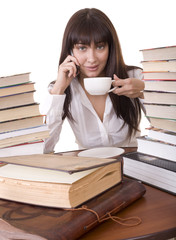 Girl with heap book and  cup,