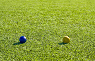 Blue and Yellow Bocce Balls