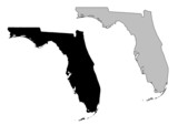 Fototapety Florida map. Black and white. Mercator projection.