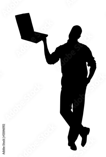 Male with laptop isolated