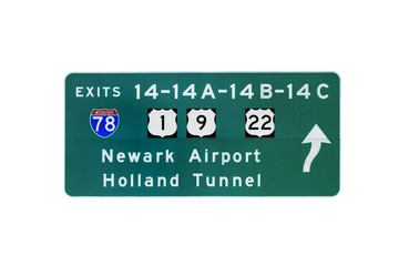 Isolated exit sign of New Jersey Turnpike