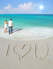 I Love You in Sand by Couple