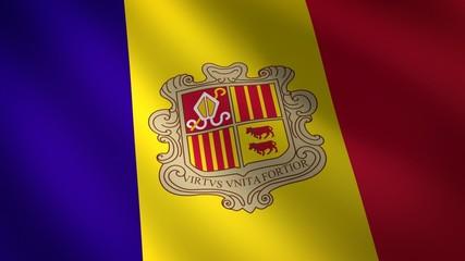 Bandera ondulante de Andorra al viento. Bucle continuo