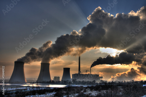 canvas print picture Coal powerplant view - chimneys and fumes