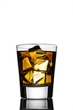 Cocktail or soft drink, with ice on a reflective tabletop poster