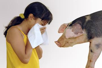 Niña estornudo gripe con cerdo