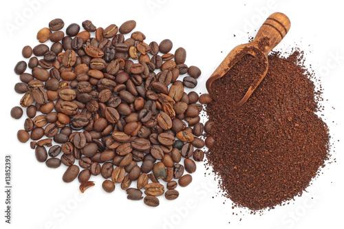 Poster Cafe cu café moulu et en grains