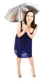 woman with umbrella make fool poster
