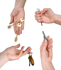 Five different keys in woman hands (set)