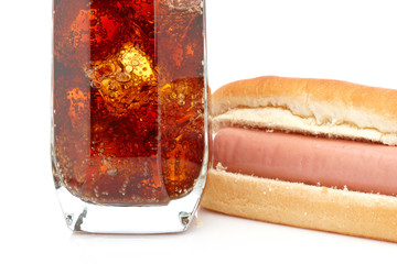 Hot dog and soda glass