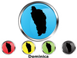 Glossy vector map button of Dominica