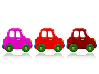 three colorful toys cars