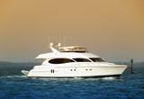 Luxury yacht returning back to port poster