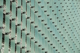 Vertical lines of glass on a modern building