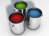 pain cans with vibrant color paint poster