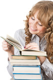 Graceful female student with books poster