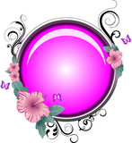 Purple glass button with swirl stylistic detail poster