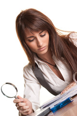 Business Searcher - Young Woman with Magnifying Glass