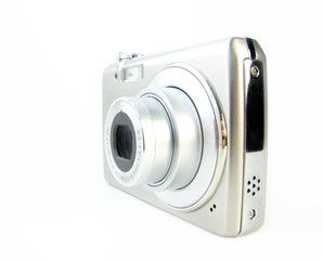Digital compact cameras isolated over white