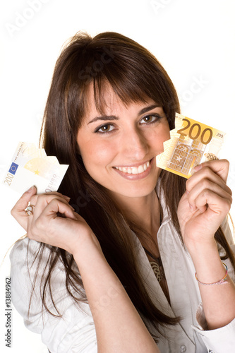 attractive business woman whit cut banknote