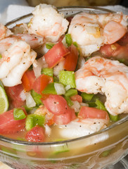 shrimp ceviche prepared and photographed in nicaragua