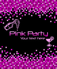 Pink mosaic party card