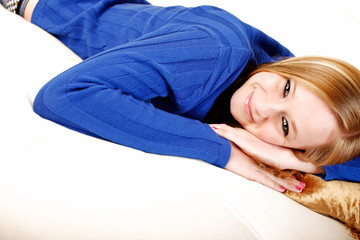 Teen laying on couch