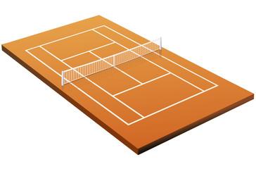 Terrain de tennis sur terre battue 3D (détouré)