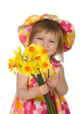 Cute little girl giving yellow flowers