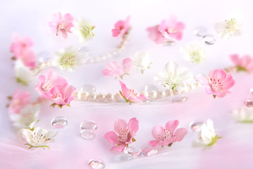 Beautiful white and pink flower background