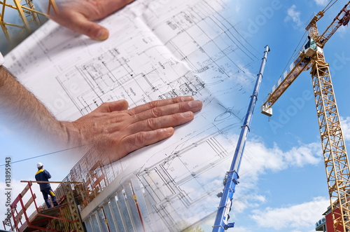 Leinwandbild Motiv Architecte et plan