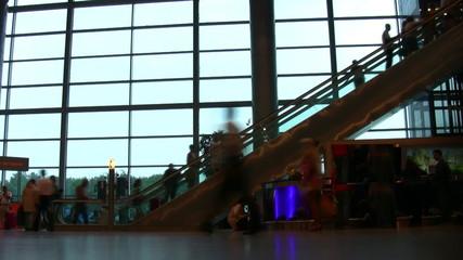 airport people silhouette escalator