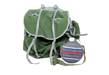 Rustic Backpack and canteen